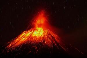 Tungurahua Volcano eruption in Huambalo, Ecuador