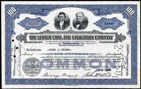 stock certificate blue