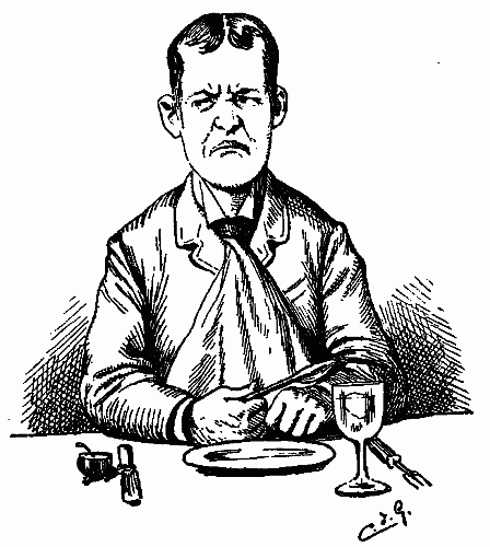 hungry-angry-unhappy-man-waiting-for-dinner-poor-service-bad-review-restaurant-pen-ink-drawing